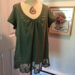 Olive Green Tunic Top w/Lace Hem